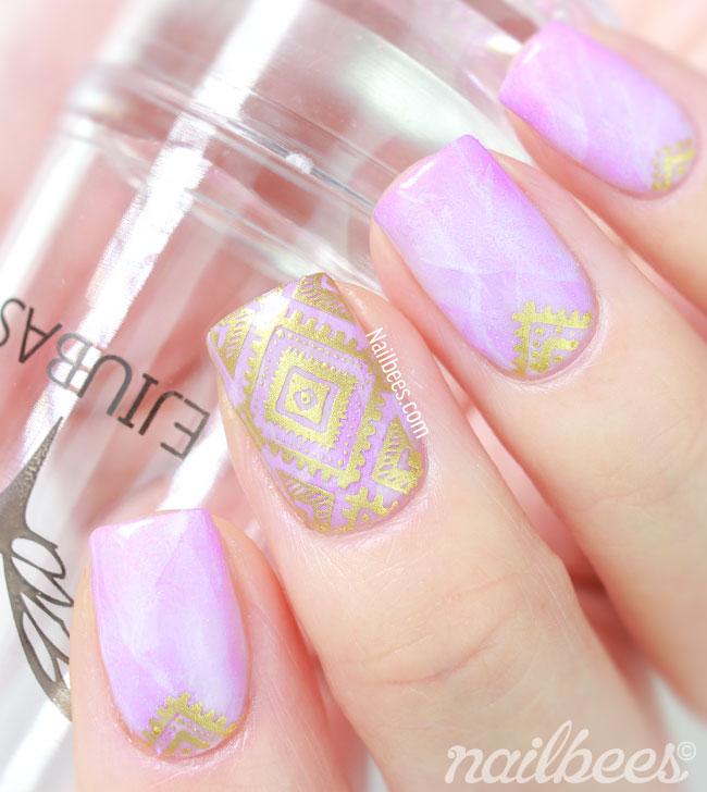 Marble Stone Nail Art Purple