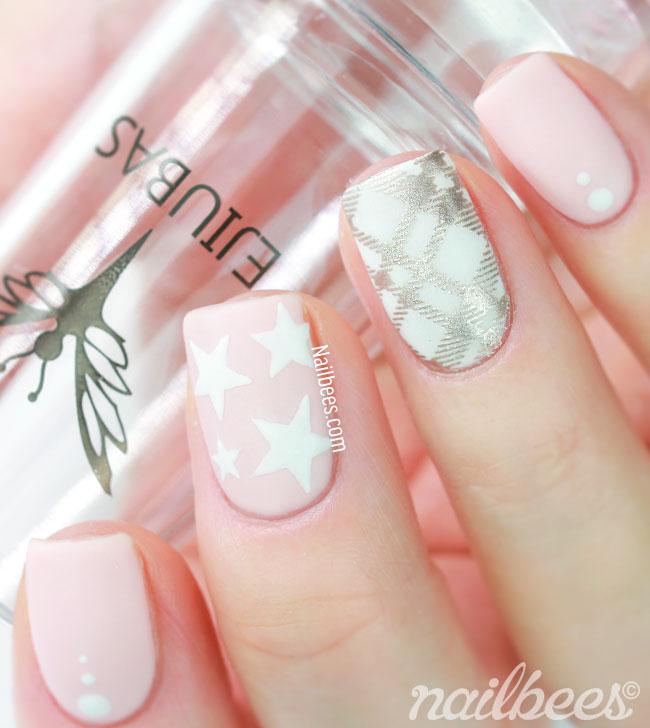 Stamping Nail Art Pink Plaid