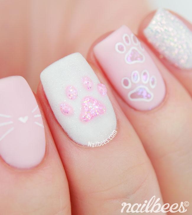 Cat Paw Print Nails - Kitty Paw Nail Art Nailbees