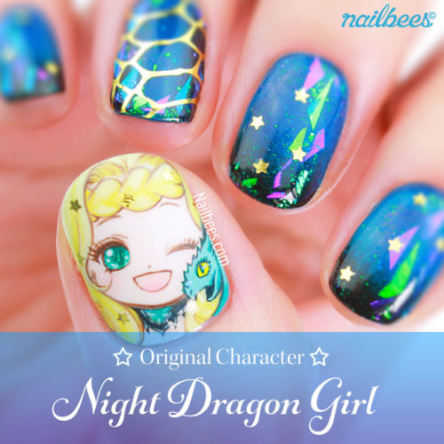 OC Nail Art: Night Dragon Girl