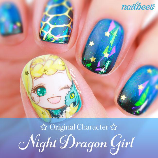 OC Nail Art: Night Dragon Girl