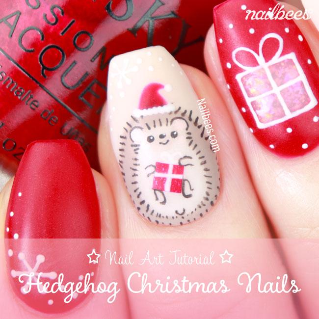 Hedgehog Christmas Nail Art