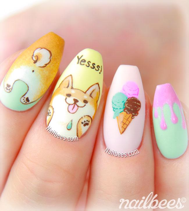 Shiba Inu Nail Art Design
