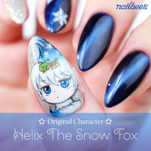 Original Character Nail Art – Snow Fox