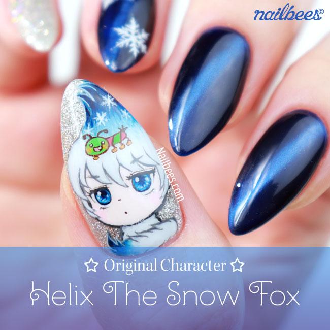 Original Character Nail Art Snow Fox Nailbees