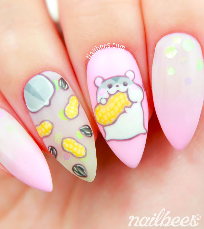 Animal Nail Art Hamster - Hamster Nail Art Nailbees