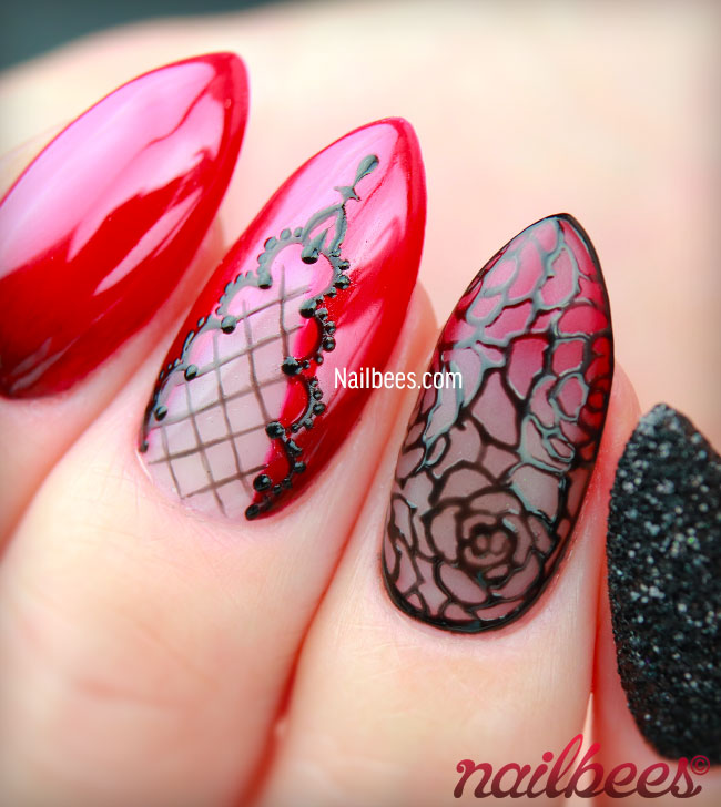 Goth Rose Nails